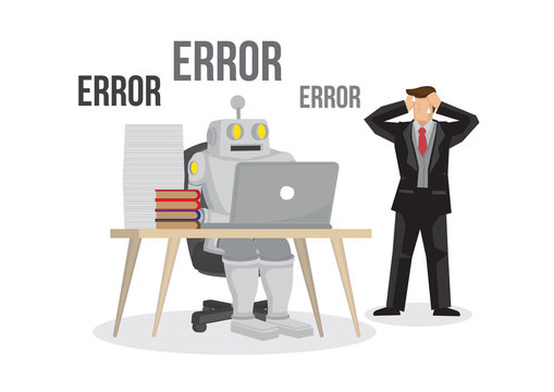 Artificial intelligence robot failures broken down due to overloaded. Artificial brain glitch and error. Future concept. Business man is worry about the failure of his business.