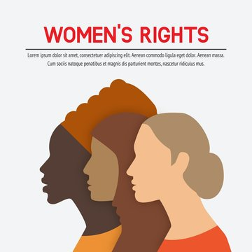 Women rights concept. Three of the female profile