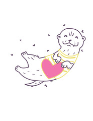 Linear illustration of an otter holding a pink heart in its paws.