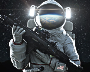 American military space soldier holding a weapon with Earth's reflection in the helmet. 3d rendering