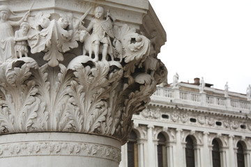 The Doge's Palace Column. San Marco square in Venice Italy. Column details.