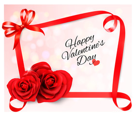 Fototapete - Valentine's background with two red heart shaped  roses and ribbons. Vector illustration.