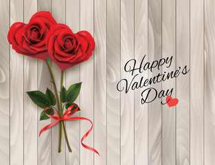 Wall Mural - Valentine's background with two red heart shaped  roses and wooden sign. Vector illustration.