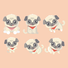 Set of the Funny cartoon pugs puppies.