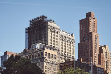 New York cityscape, retro color toned picture, USA.