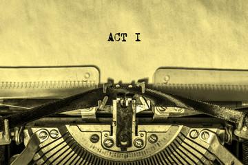 ACTI printed on a sheet of paper on a vintage typewriter. writer. journalist.