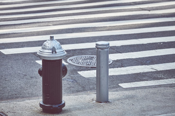New York City fire hydrant, color toning applied, USA.
