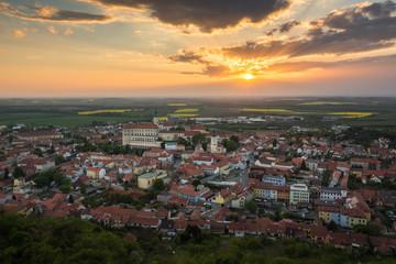 Sunset over the Mikulov city, Moravia, Czech Republic