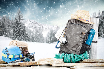 Winter backpack and snow decoration. Free space for your product.