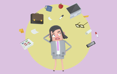 Businesswoman stressing looking at office accesories. Background. Isolated.