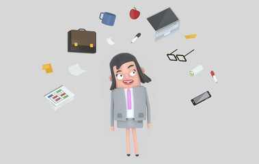 Businesswoman relaxing looking at office accesories. Isolated.