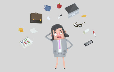 Businesswoman stressing looking at office accesories. Isolated.