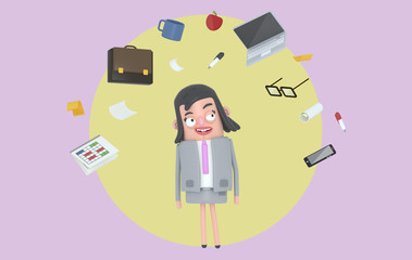 Businesswoman relaxing looking at office accesories. Background. Isolated