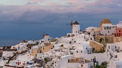 Wall Mural - Architecture of Oia village, Santorini island in Greece. 4K timelapse.