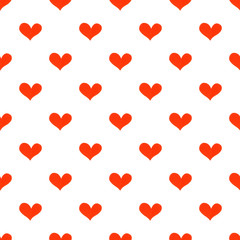 Red hearts seamless watercolor background art pattern