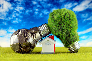 Coins inside the light bulb, green eco light bulb with grass and miniature house. Renewable energy concept. Electricity prices, energy saving in the household.