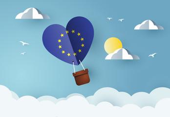 Heart air balloon with Flag of  European Union Wall mural