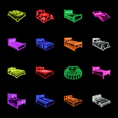 Different beds neon icons in set collection for design. Furniture for sleeping vector isometric symbol stock web illustration.
