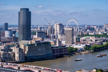 London skyline for high above the city in the capital of the uk