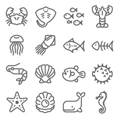 Sea Life Vector Line Icon Set. Contains such Icons as Octopus, Seahorse, Puffer Fish, Pearl and more. Expanded Stroke