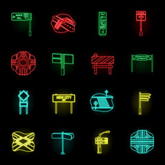 Road junctions and signs neon icons in set collection for design.Pedestrian crossings and signs vector symbol stock web illustration.