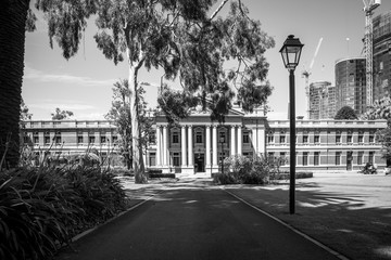 Supreme Court of Western Australia seen from Stirling Garden in Perth in black and white