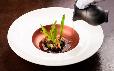Vegan Fine dining appetizer in a gourmet restaurant, vegetable and beans with sauce