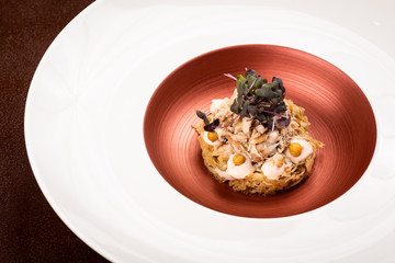 Crab meat, fermented tomato and pine emulsion, fried chickpeas on young cabbage