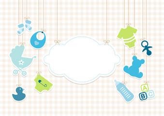 Baby Boy Symbols Hanging Cloud Blue Beige Check Pattern