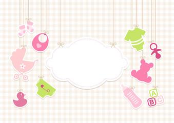 Baby Girl Symbols Hanging Cloud Pink Beige Check Pattern