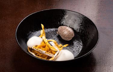 Fine dining dessert, Pope seed noodles