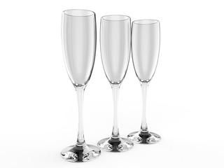 Blank Glass Tumbler for branding. 3d render illustration.