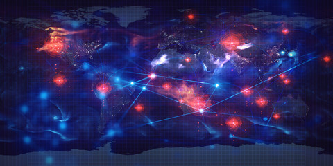 hologram grid system futuristic of world of social network global earth map Elements of this image furnished by NASA