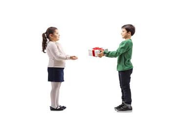 Little boy giving a present to a little girl