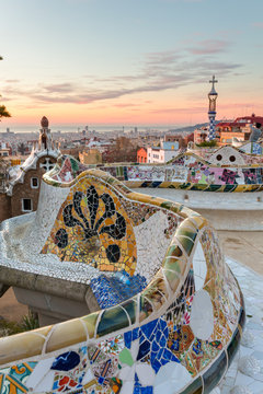 Sunrise view of the Park Guell designed by Antoni Gaudi, Barcelona
