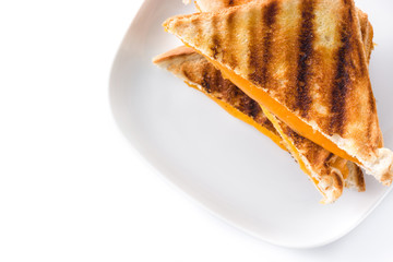 Grilled cheese sandwich isolated on white background. Top view. Copyspace
