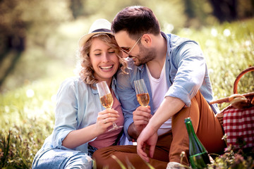Lovely couple on picnic