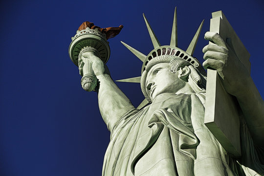 Close-up shot of the Statue of Liberty