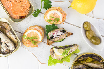 Varieties of fish sandwiches.