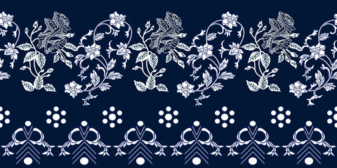 Seamless blue border with Chinese art motifs.