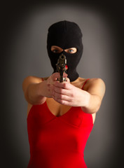 girl gun balaclava red - fototapety na wymiar