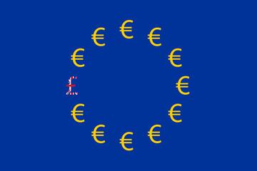 BREXIT - British Pound sign amongst Euros - Illustration