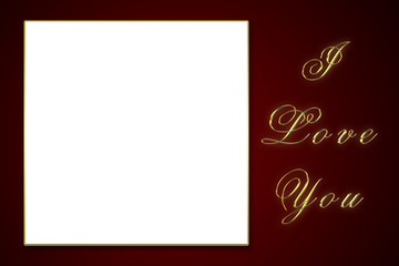 valentines day frame. i love you. gold letters. gift frame