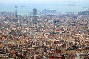 Aerial view of Barcelona from Park Güell.