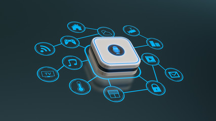 smart voice assistant,  concept of home automation and futuristic technology, iot icons network (3d render)