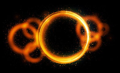 Glow neon balls. Golden Space tunnel. Glint sphere. Vivid  rings. Circle frame of title place. Bright background for text. Glare abstract composition. Beautiful design of magic bubbles. 3D rendering