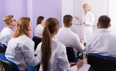 teacher lecturing to medical students