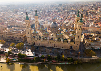 View from drone of Basilica in Zaragoza