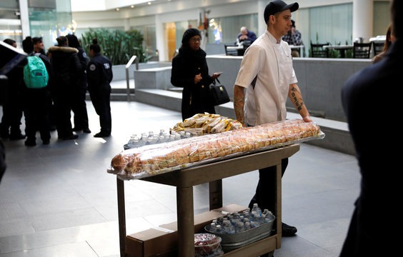 Ian Wilde, General Manager of Lessings Bulova Cafe, wheels free lunches to be delivered to TSA employees working without pay during partial government shutdown in New York