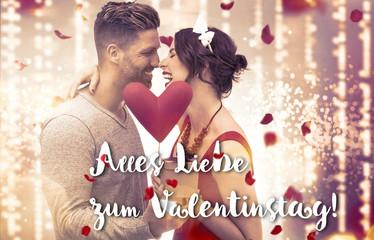verliebtes Paar mit Rosenblättern und Bokeh Lichter Hintergrund Banner, Frau mit rotem Kleid und festlicher Frisur